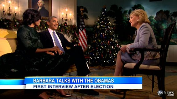 Obamas and barbara walters