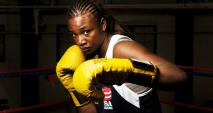 Female boxer and Olympics hopeful Shields poses for a portrait in the F.W.C. Berston boxing gym in Flint