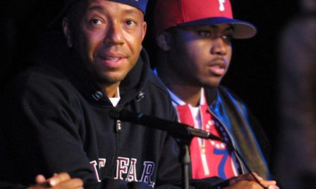 Russell Simmons, on left, and Nas during at the first annual Hip-Hop Youth Summit to honor Martin Luther King, Jr. and launch several programs for youth at York College in Queens, New York.  1/21/02  Photo by Scott Gries/ImageDirect