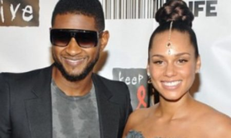 "Singer Usher Raymond, left, poses with singer Alicia Keys at the ""Keep A Child Alive Black Ball"" at the Hammerstein Ballroom on Thursday, Sept. 30, 2010 in New York. (AP Photo/Evan Agostini)"