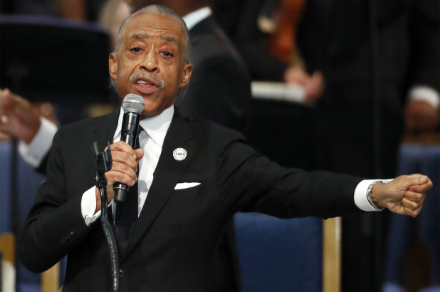 al sharpton fires a shot at trump at the funeral of singer aretha